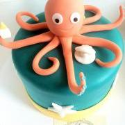 Fondant Octopus Cake Topper & Oyster Shell Pearl quot; Under The Sea Theme""